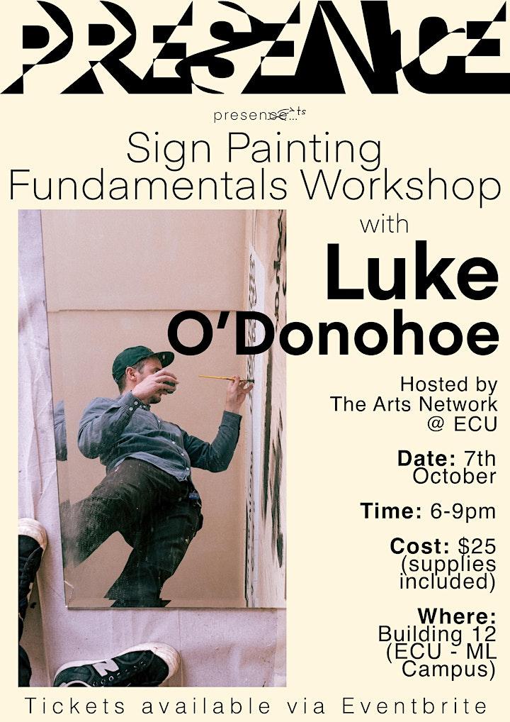 Sign Painting Fundamentals Workshop with Luke O'Donohoe @ ECU Mt Lawley image
