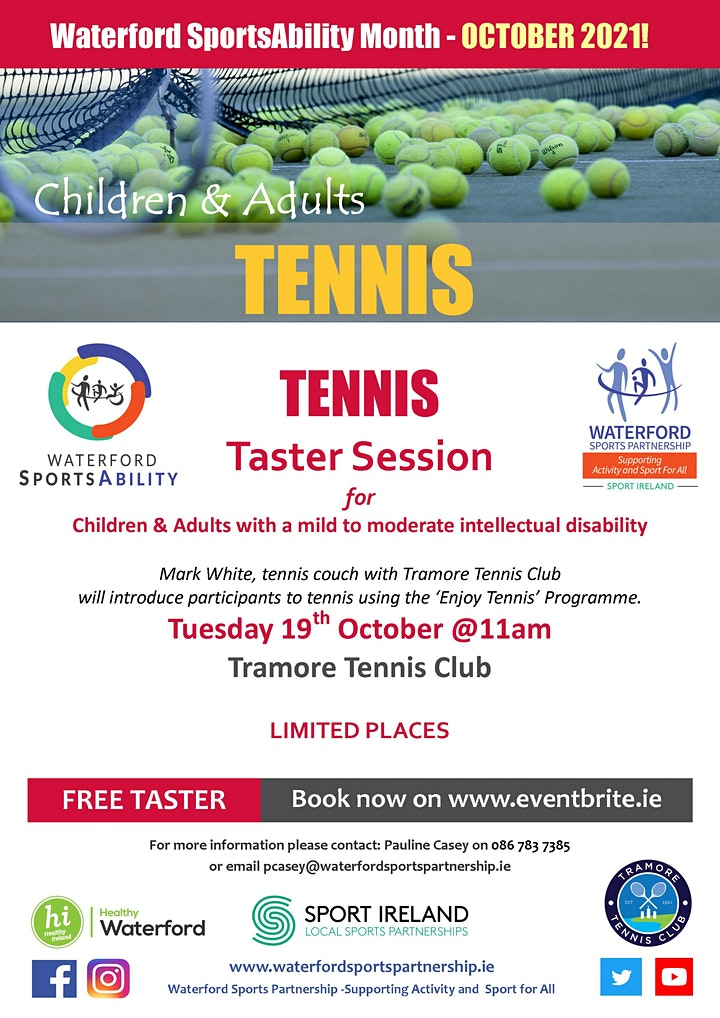 Waterford SportsAbility - Tennis for All Tuesday 19th October image