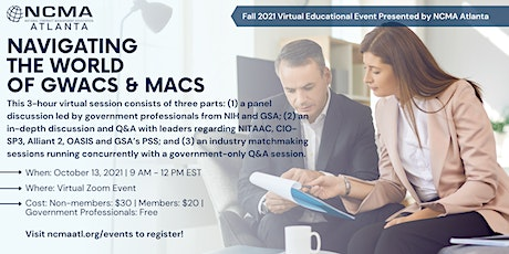 Navigating the World of GWACs and MACs (Industry - NCMA Members) tickets