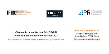 """Cérémonie de remise des ¨Prix FIR-PRI """"Finance & Développement durable"""" billets"""