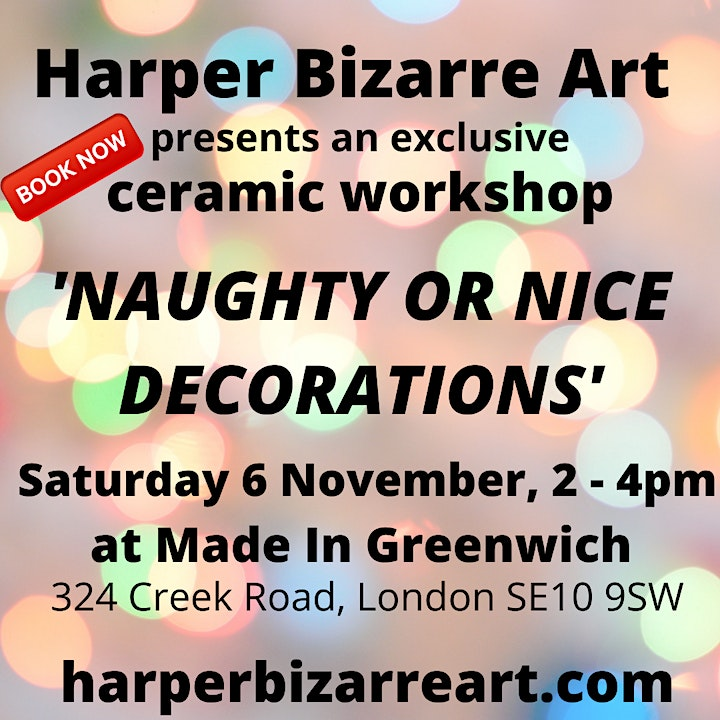 Ceramic Naughty Or Nice Decorations workshop with Harper Bizarre Art image