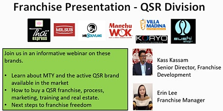 MTY Franchising QSR Division Information Webinar (NOVEMBER 2021) entradas