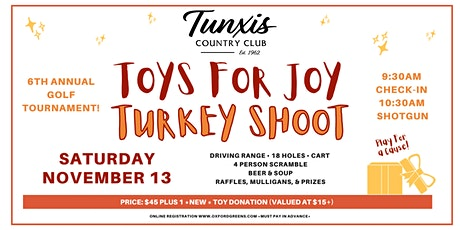 2021 TOYS FOR JOY Turkey Shoot Golf Tournament at Tunxis Country Club tickets