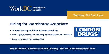 London Drugs is hiring Warehouse Associates in Richmond tickets