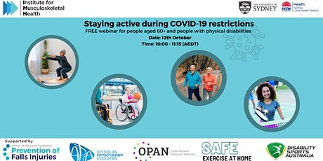 Staying active during COVID-19 restrictions tickets