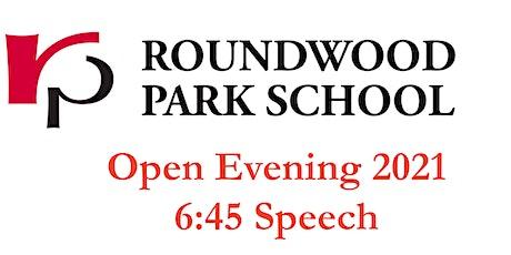 Roundwood Park School Open Evening 2021 - 6:45 Speech and Tour tickets