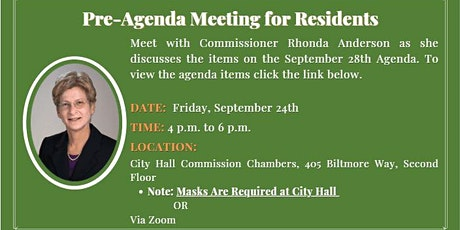 Commissioner Anderson's Pre-Agenda Meeting for Residents tickets