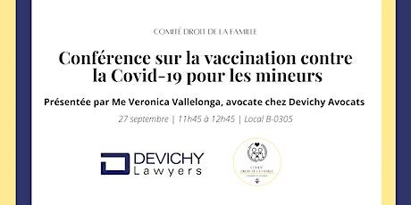 Conférence sur la vaccination contre la Covid-19 pour les mineurs billets