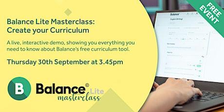 Balance Lite Masterclass: Create your Curriculum tickets