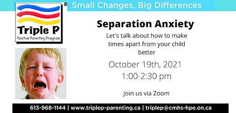 Triple P  Parenting talks about Separation Anxiety tickets