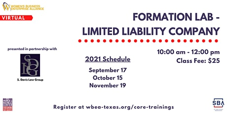 Formation Lab - Limited Liability Company tickets