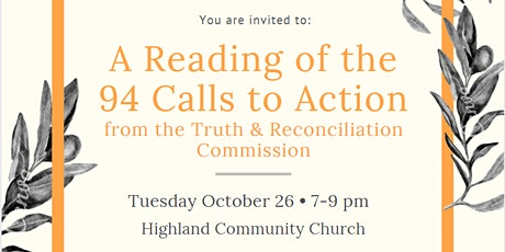 Reading of the 94 Calls to Action from the TRC tickets