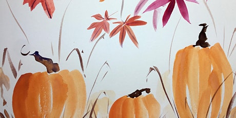 Watercolors Inspired by Chinese Brush Painting: Autumn Leaves and Pumpkins tickets