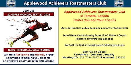 Applewood Achievers Toastmasters  Weekly Meeting tickets