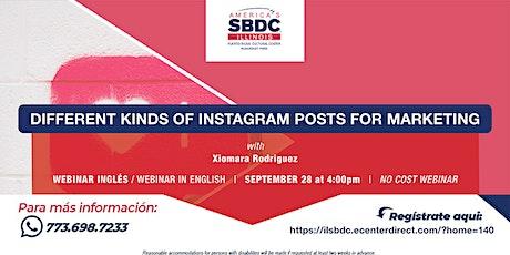 Different kinds of Instagram posts for marketing Webinar. tickets