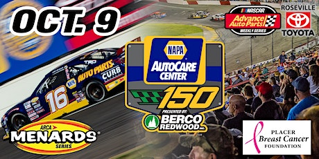 October 9, 2021 NASCAR/ARCA NAPA AUTO CARE 150 Presented by Berco Redwood tickets