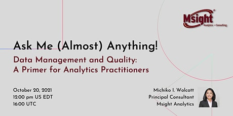 Data Management and Quality: A Primer for Analytics Practitioners tickets