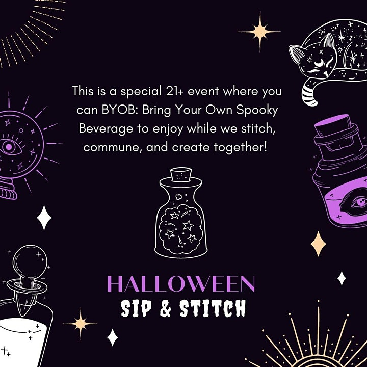 Halloween Sip & Stitch:  A Spooky Hand Embroidery Workshop 21+ image