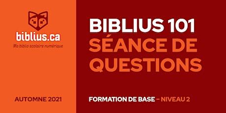Biblius 101 - Séance de questions (Niveau 2) billets