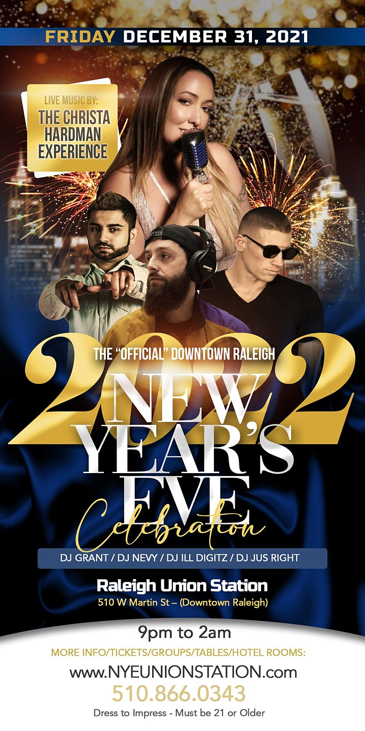 """THE  """"OFFICIAL"""" 2022 NEW YEAR'S EVE CELEBRATION @ RALEIGH UNION STATION image"""