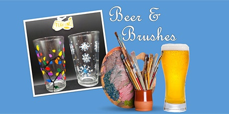 Beer & Brushes Paint Night- December PINT GLASSES tickets