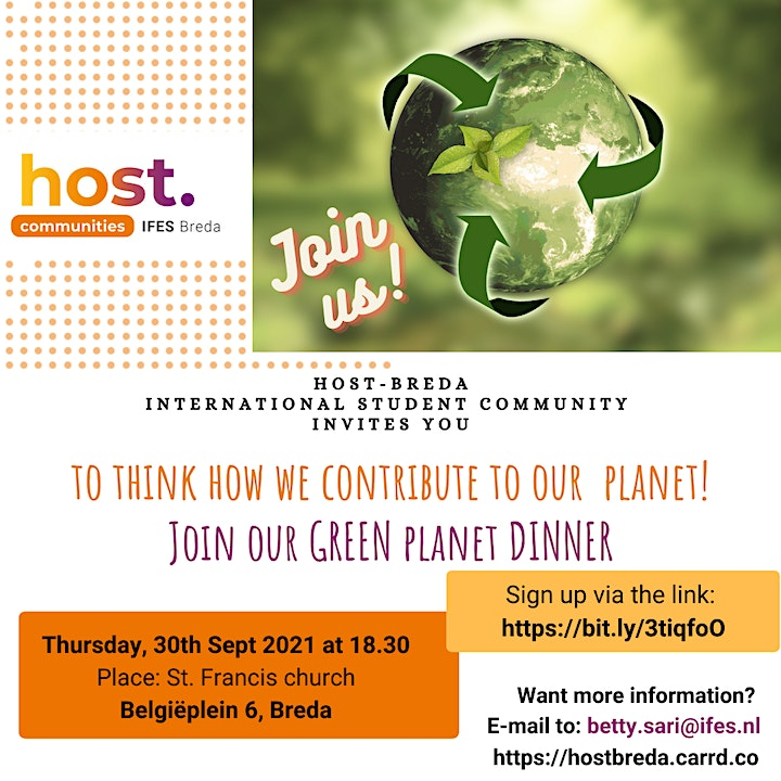 """""""Green Planet Dinner"""" with a talk on """"Sustainability & Believe"""" HOST-Breda image"""