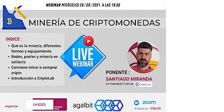 webinar MINERÍA DE CRIPTOMONEDAS entradas