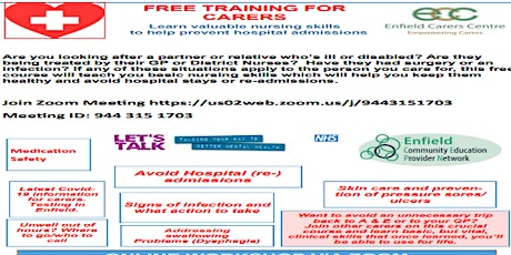 Free Basic Clinical Skills Course for informal Carers Online & in Person tickets