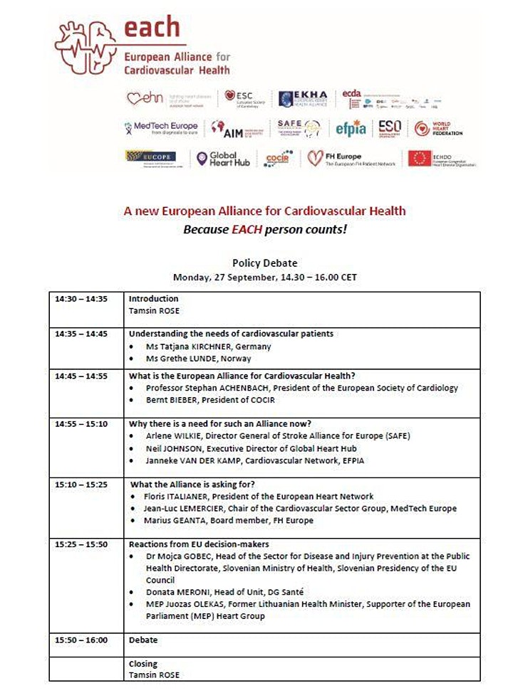 Launch of the European Alliance for Cardiovascular Health image