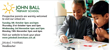 Open Evening 21st October 4pm - 4.45pm with Headteacher talk at 5pm tickets