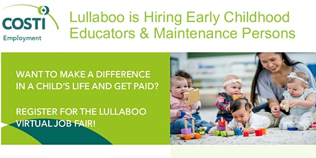 Lullaboo is Hiring Early Childhood Educators & Maintenance Persons tickets