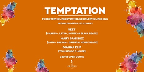 Temptation Opening 2.10.21, Gleis 3, Osnabrück, For friends & LGBTIQ! Tickets