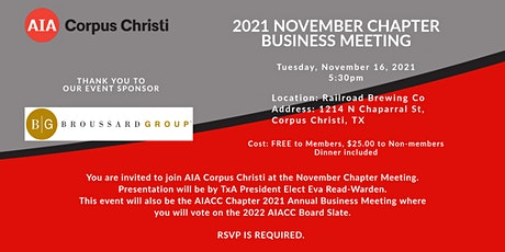 NOVEMBER AIACC CHAPTER BUSINESS MEETING tickets