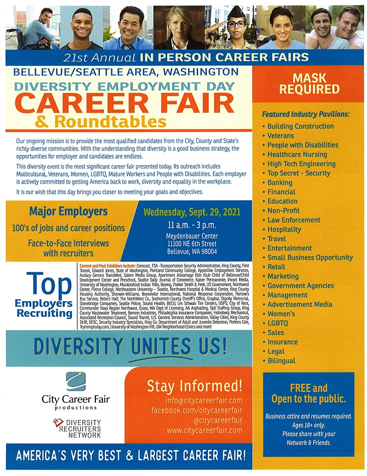 SEATTLE'S IN PERSON (IP) Diversity Employment Day Career Fair  9/29/2021 image