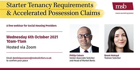 MSB - Starter Tenancy Requirements & Accelerated Possession Claims tickets