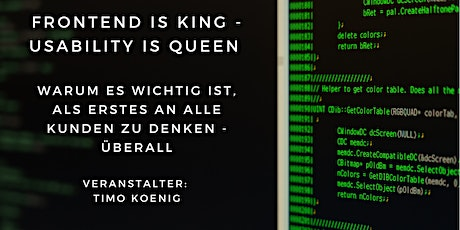 Frontend is King - Usability is Queen Tickets