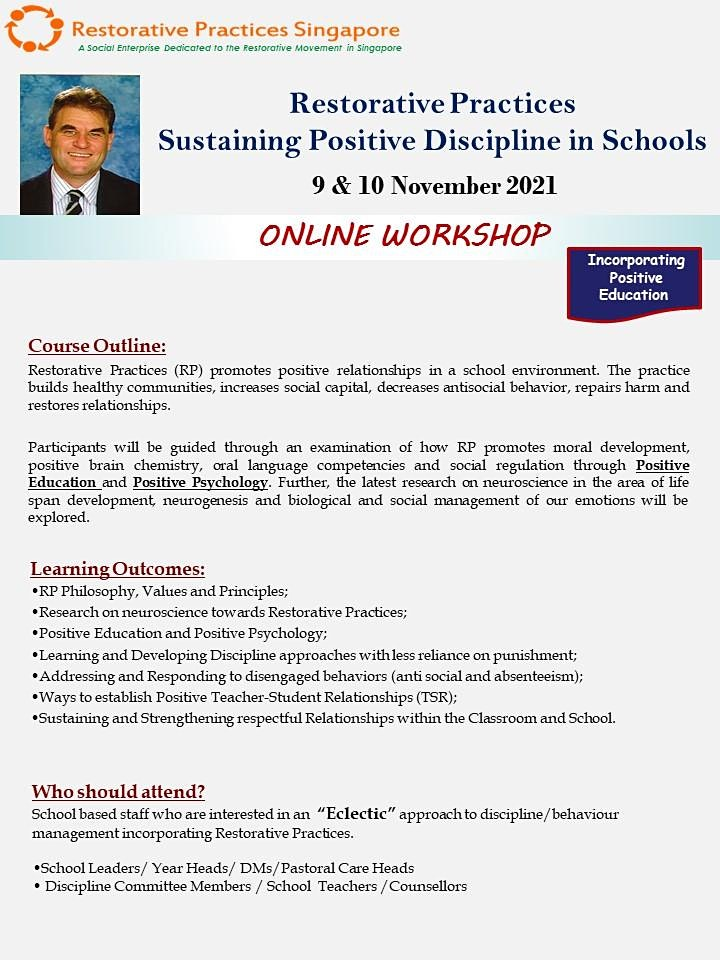 Restorative Practices - Sustaining Positive Discipline in Schools(1.5 days) image