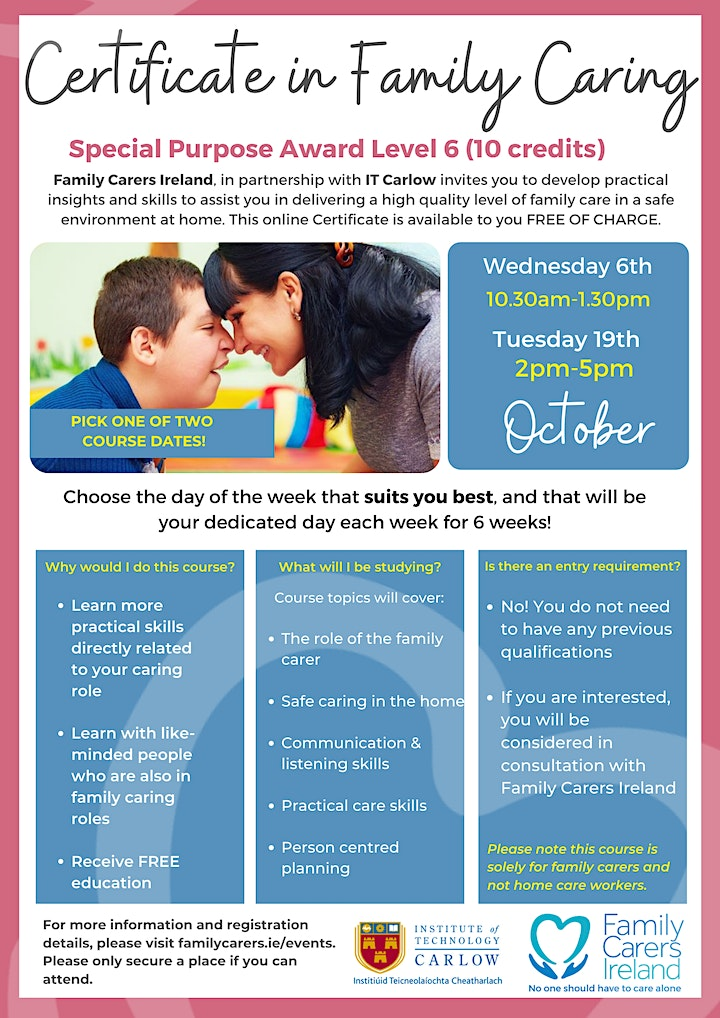 CERTIFICATE IN FAMILY CARING (QQI  Level 6) image
