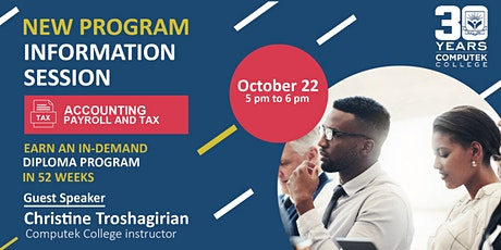 Information session on  Accounting ,Payroll and tax program biglietti