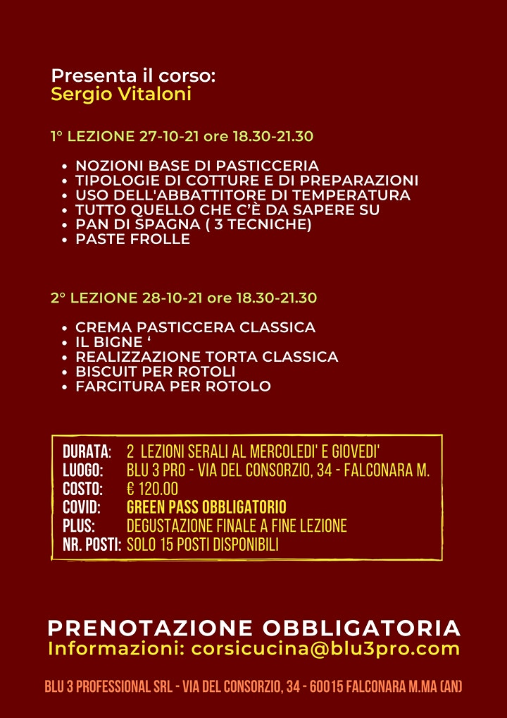 Immagine CORSO AMATORIALE DI PASTICCERIA BASE 1° LIVELLO con Sergio Vitaloni