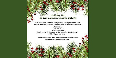 Holiday Tea at Oliver House- December  9th tickets