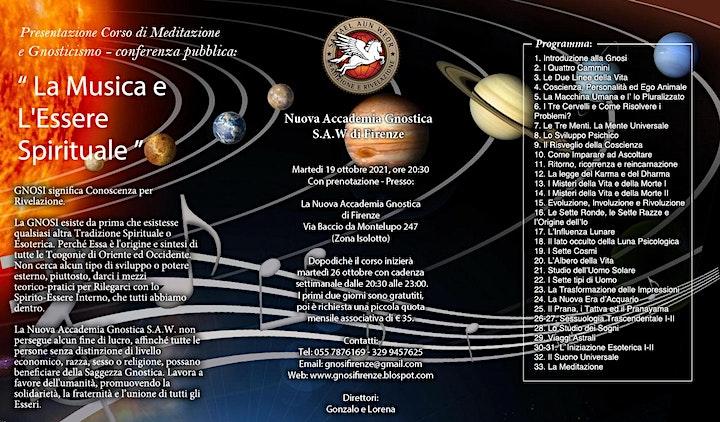"""Immagine CORSO DI MEDITAZIONE: """"LA GNOSI UNIVERSALE"""" MARTEDI 19 e SABATO 23 OTT.'21"""