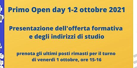 Open day 1-2 ottobre.  TURNO DI VENERDI 1 OTTOBRE biglietti