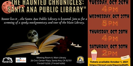 """""""The Haunted Chronicles: Santa Ana Public Library"""" Screening & Haunted Tour tickets"""