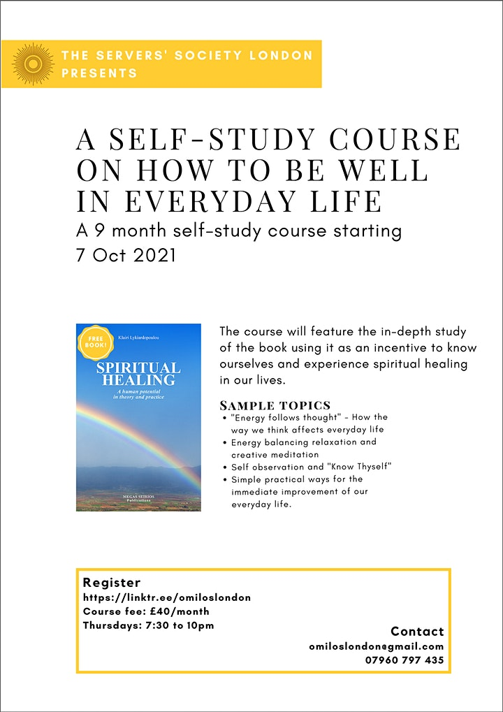 Self-Study Course on How To Be Well in Everyday Life (Via Skype) image