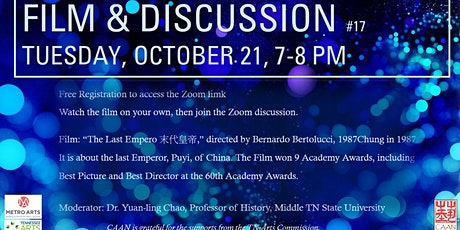 FILM & DISCUSSION monthly in October (Tues, 10/26/21, at 7 pm) tickets