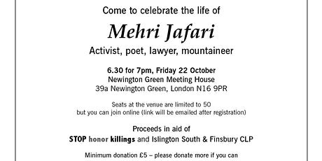 Celebrate the life of Mehri Jafari tickets