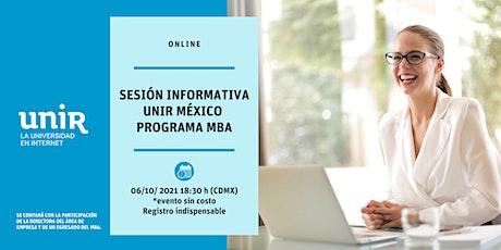 Sesión Informativa MBA UNIR México entradas