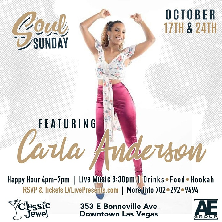Soul Sunday  f/ Powerhouse Singer CARLA ANDERSON w/ The Vibe Tribe Band image