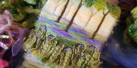 Felted Bluebell Woods - needle felted and embroidered picture tickets